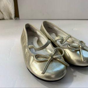 Nordstrom toddler 6 girls gold ballet flats bow